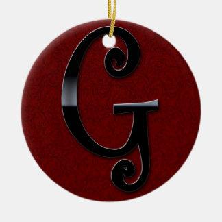 Black Gloss Monogram - G Christmas Ornament