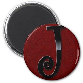 Black Gloss Monogram - J 6 Cm Round Magnet