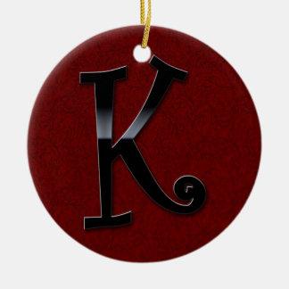 Black Gloss Monogram - K Christmas Ornament