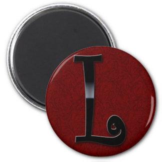 Black Gloss Monogram - L 6 Cm Round Magnet