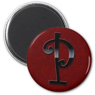 Black Gloss Monogram - P Fridge Magnet