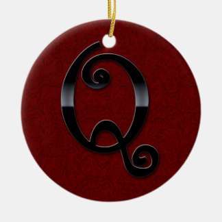 Black Gloss Monogram - Q Christmas Ornament
