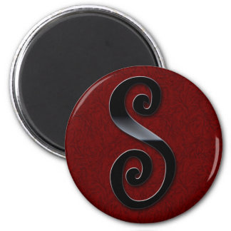 Black Gloss Monogram - S 6 Cm Round Magnet