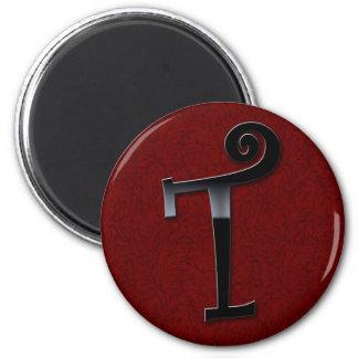 Black Gloss Monogram - T Refrigerator Magnet