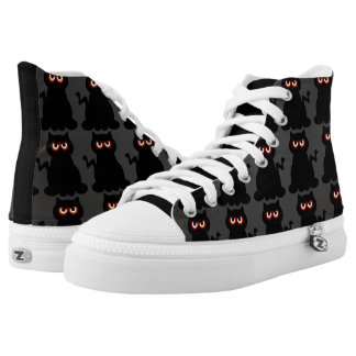 Black Glowing Eyes Kitty High Top Shoes Printed Shoes