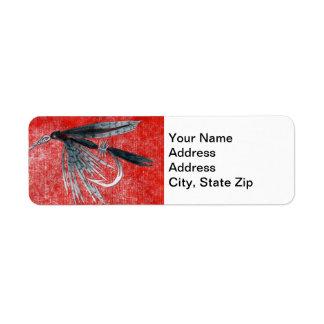 """Black Gnat"" Trout Fly Return Address Label"