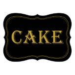 Black & Gold 1920's Gatsby Wedding Cake Sign 13 Cm X 18 Cm Invitation Card