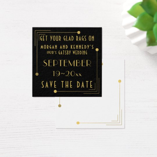 Black Gold 1920s Gatsby Wedding Save The Date