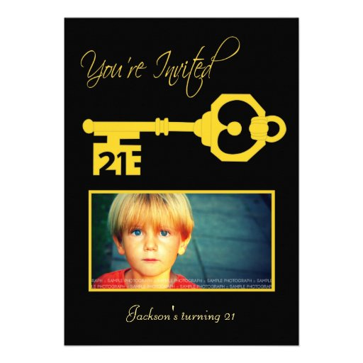 Black & Gold 21st Birthday Party Key Invitation