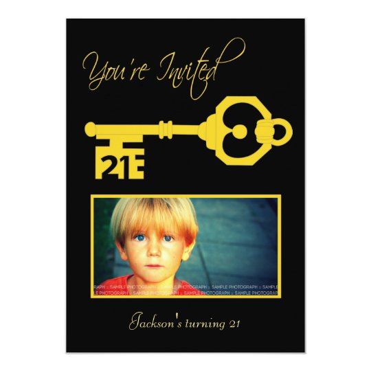 Black & Gold 21st Birthday Party Key Invitation