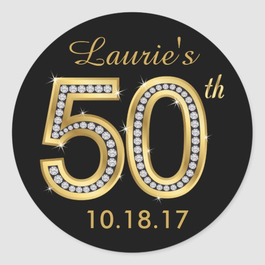 Black & Gold 50th Birthday Stickers   Diamond