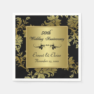 Black, Gold 50th Wedding Anniversary Napkins Paper Napkin