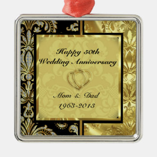 Black & Gold 50th Wedding Anniversary Ornament