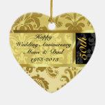 Black & Gold 50th Wedding Anniversary Ornament