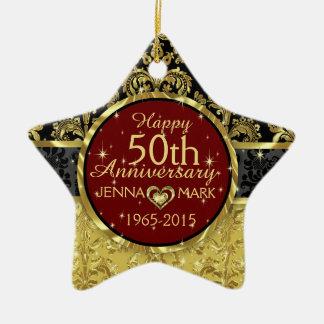Black & Gold 50th Wedding Anniversary Ornament 2