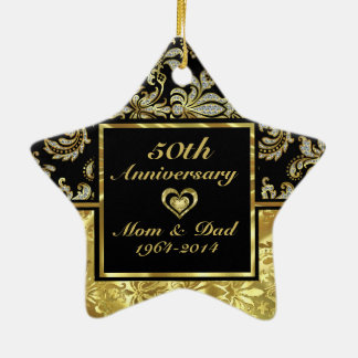 Black & Gold 50th Wedding Anniversary Ornament 2