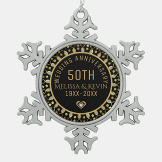 Black & Gold 50th Wedding Anniversary Template Snowflake Pewter Christmas Ornament