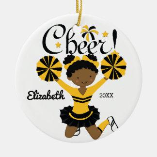 Black & Gold African American Cheerleader Ornament