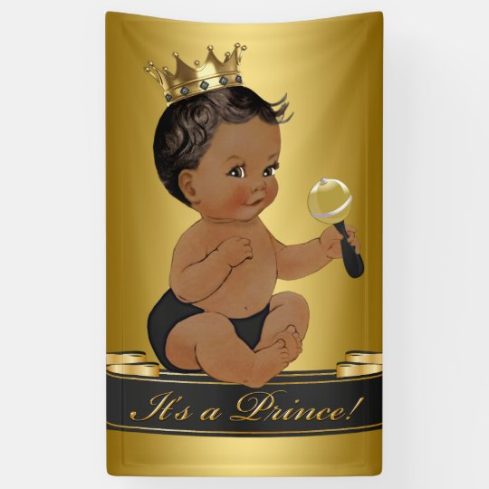 Black Gold African American Prince Boy Baby Shower