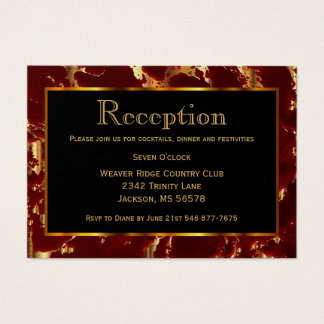 Black, Gold and Dark Red Marble - Reception Business Card
