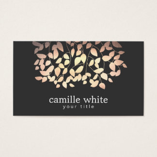 Black & Gold and Pink Foil Look Whimsical Leaves Business Card