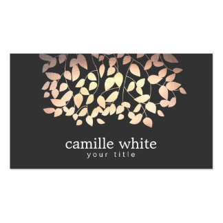 Black & Gold and Pink Foil Look Whimsical Leaves Pack Of Standard Business Cards