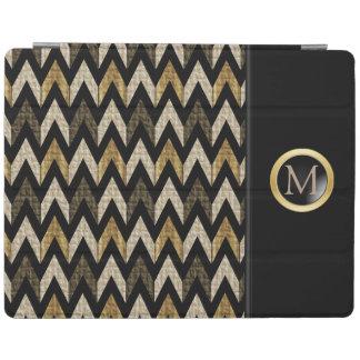 Black, Gold and Tan Herringbone Design iPad Cover