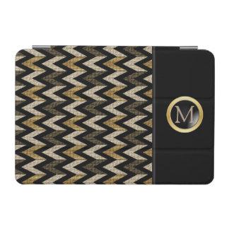 Black, Gold and Tan Herringbone Design iPad Mini Cover