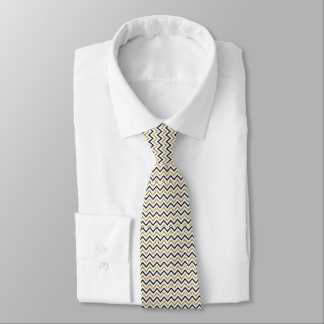 Black, Gold and White Chevron Tie