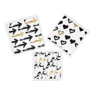 Black & Gold Arrows Love & Hearts Tray Set