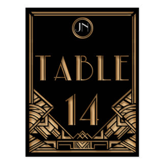 Black Gold Art Deco Gatsby Style Table Number 14 Post Card