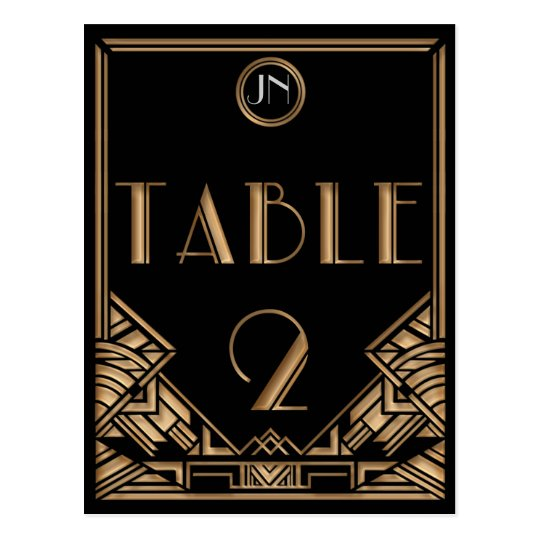 Black Gold Art Deco Gatsby Style Table Number