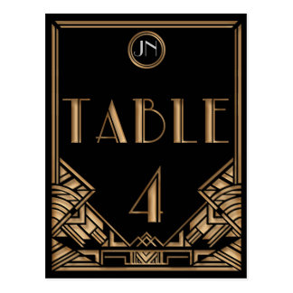 Black Gold Art Deco Gatsby Style Table Number 4 Postcard