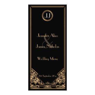 Black Gold Art Deco Gatsby Style Wedding Menu