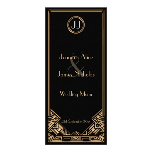 Black Gold Art Deco Gatsby Style Wedding Menu Customized Rack Card