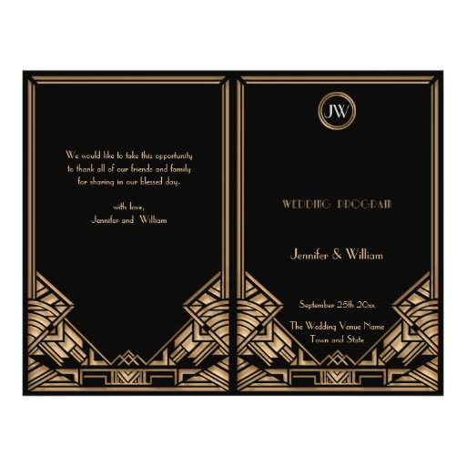 Black Gold Art Deco Gatsby Style Wedding Program Flyer