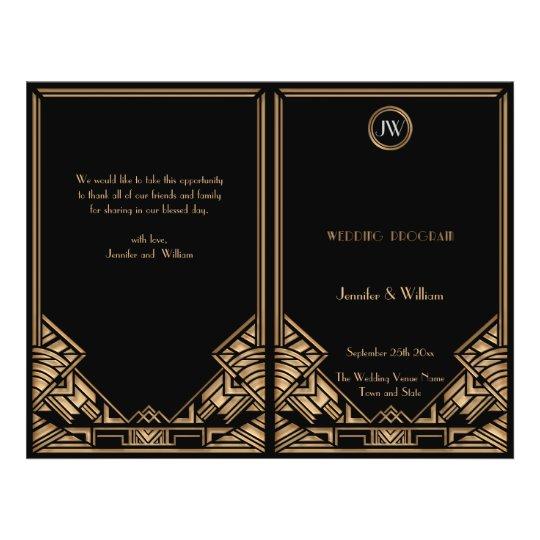 Black Gold Art Deco Gatsby Style Wedding Program