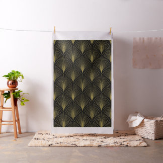 Black & Gold Art-Deco Geometric Pattern Fabric