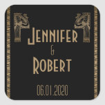 Black Gold Art Deco Peacock Wedding Envelope Seal Square Sticker