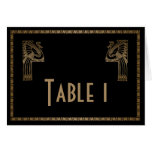 Black Gold Art Deco Peacock Wedding Table Number Note Card