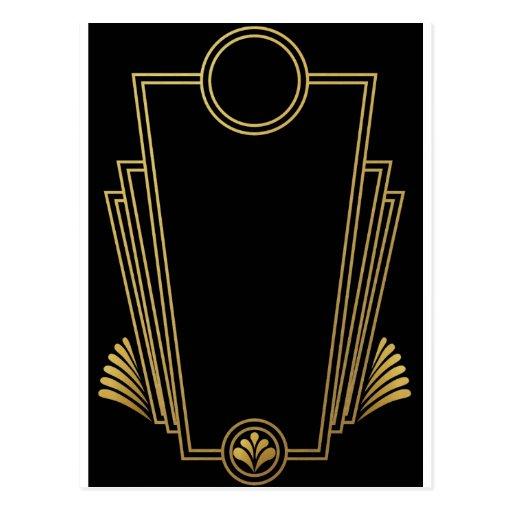 Black Gold Art Deco Post Card
