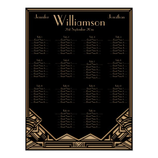 Black Gold Art Deco Style Wedding Seating Chart