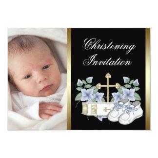 Black Gold Baby Boy Photo Christening Invitations