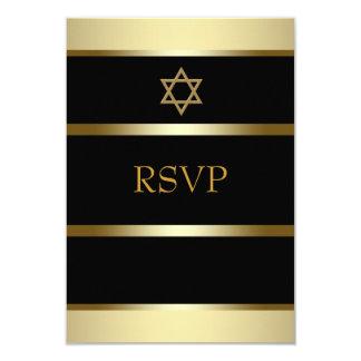 Black Gold Bar Mitzvah RSVP 9 Cm X 13 Cm Invitation Card
