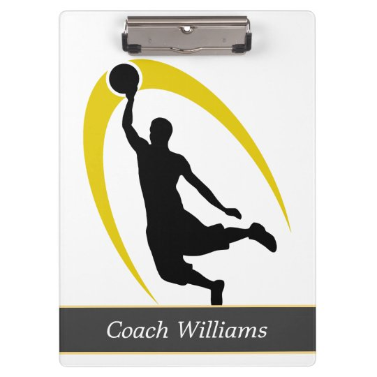 Black Gold Basketball Personalised Clipboard