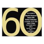 Black/Gold Big 6-0 Party Invitations