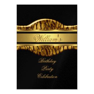 Black Gold Birthday Party Mens 60th Wild 13 Cm X 18 Cm Invitation Card