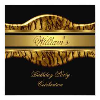 Black Gold Birthday Party Mens 60th Wild 2 13 Cm X 13 Cm Square Invitation Card