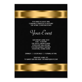 Black Gold Black Corporate Party Event 13 Cm X 18 Cm Invitation Card