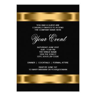 Black Gold Black Tie Corporate Party Announcements
